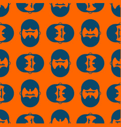 barber shop pattern bearded ornament head hipper vector image