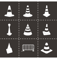 Black traffic cone icons set vector