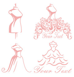 Bridal wedding boutique gown logo design set vector
