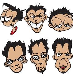 bunch of cartoon faces vector image