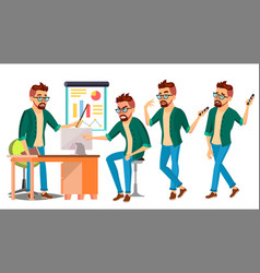 Business man character hipster working vector