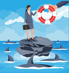 Businesswoman on island in sea getting lifebuoy vector