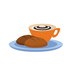 cappuchino and wholemeal bread vector image