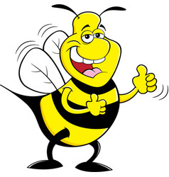 Cartoon happy bumble bee giving thumbs up vector