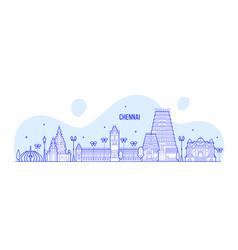 chennai skyline tamil nadu india city line vector image