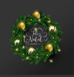 christmas new year portuguese ornament wreath card vector image