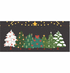 christmas trees firs with garlands and lights vector image