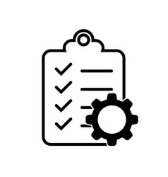 Clipboard icon with a gear for documents vector