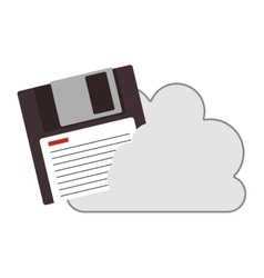 Cloud with diskette icon vector