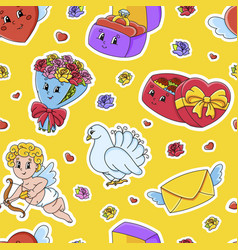 Colored seamless pattern valentines day cartoon vector