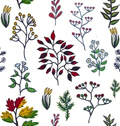 Colorful hand painted herbal seamless bac vector