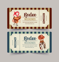 Cowboy ticket design with saddle headband vector