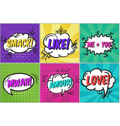 Cute cartoon st valentines speech bubbles set vector