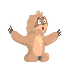 cute cartoon surprised sloth character sitting on vector image