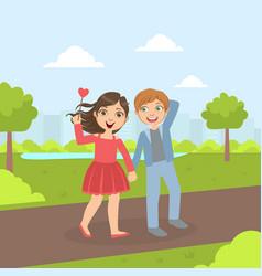 Cute happy boy and girl walking in perk vector