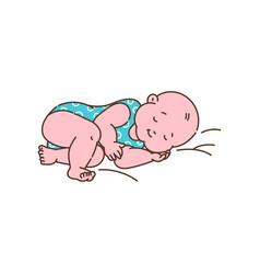 Cute sleeping newborn child character sketch vector