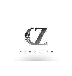 cz logo design with multiple lines and black and vector image