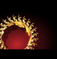 decorative gold round frame background for design vector image