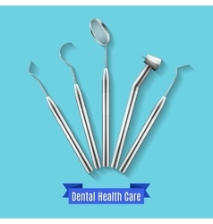 Dental health care instruments vector image