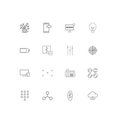 devices linear thin icons set outlined simple vector image