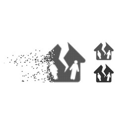 Divorce house disappearing pixel halftone icon vector