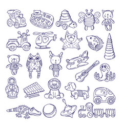 Drawing vintage collection of toys vector