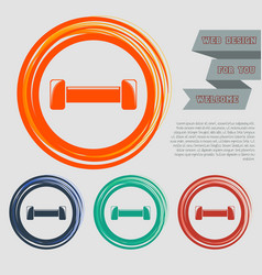 dumbbell icon on the red blue green orange vector image