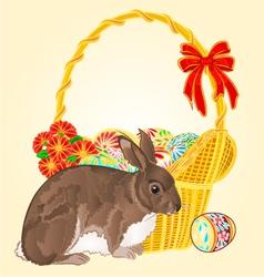 Easter rabbit and wicker vector