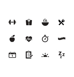 Fitness icons on white background vector image