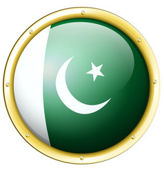 Flag of pakistan on round badge vector