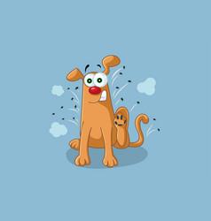 funny cartoon dog scratches fleas off vector image