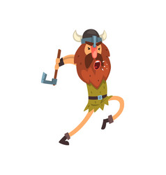 furious viking attacking with axe medieval vector image