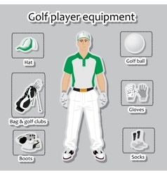 Golf player and equipment vector image