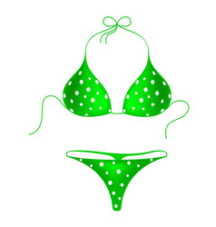 Green bikini suit with white dots vector