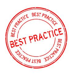 Grunge red best practice word round rubber seal vector