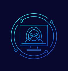 hacker cyber crime line icon vector image