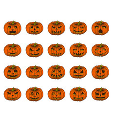 halloween pumpkin set isolated on white background vector image