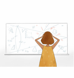Hand drawn a student looking at math problem vector