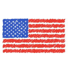 hand drawn national flag of usa isolated on a vector image