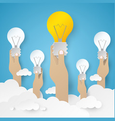 hand holding light bulb idea concept vector image