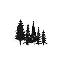 hand sketched trees set in silhouette monochrome vector image