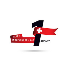 Happy switzerland independence day 1 august vector