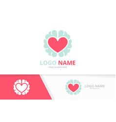 Heart and brain logo combination love vector