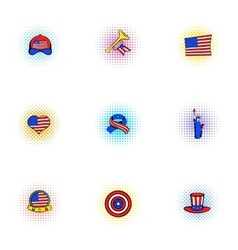 Holiday independence day of USA icons set vector image