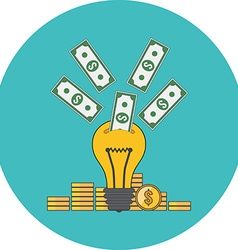 Investing into idea crowdfunding concept Flat vector image