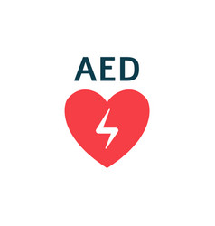 Isolated flat with aed heart vector