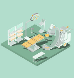 Isometric interior of operating room with vector