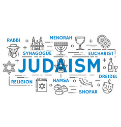 Judaism religion symbols thin line icons vector