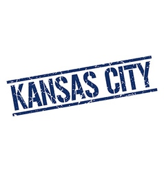 Kansas City blue square stamp vector image