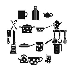 kitchen tools and utensils icons simple style vector image